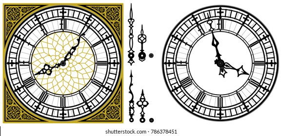 Vector antique old clock with square golden ornament roman baroque style dial numerals and clock hands. Set of antique clock hands. Vector set of tower Big Ben style clock. Gothic Vintage vector watch