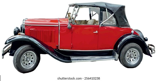 Vector antique, oldtimer car.