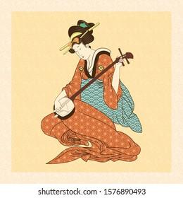 Vector Antique Style Japanese Geisha Illustration Isolated