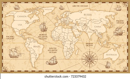 World map illustration on old paper background images stock photos vector antique world map with countries boundaries antique world vintage map grunge america and gumiabroncs Gallery