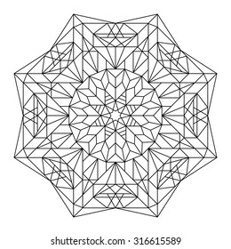 Vector antistress coloring book with geometric mandala.