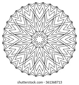 Vector anti-stress coloring book with geometric mandala.