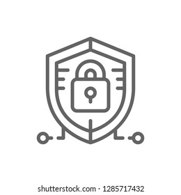 Vector antivirus, data protection, cyber security line icon. Symbol and sign illustration design. Isolated on white background