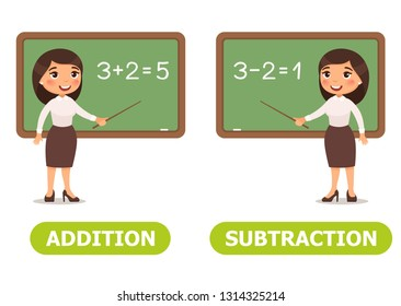 Vector antonyms and opposites. ADDITION and SUBTRACTION Card for teaching aid, for a foreign language learning