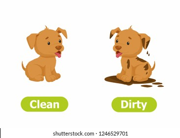 Vector antonyms and opposites. Cartoon characters illustration on white background. Card for children сan be used as a teaching aid for a foreign language learning. Clean and Dirty.