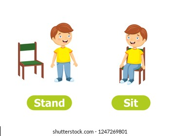 Vector antonyms and opposites. Cartoon characters illustration on white background. Card for children can be used as a teaching aid for a foreign language learning. Stand and Sit.