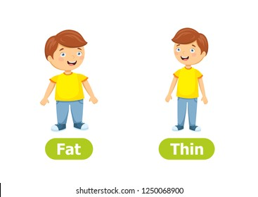 Vector antonyms and opposites. Cartoon characters illustration on white background. Card for teaching aid, for a foreign language learning. Fat and Thin.