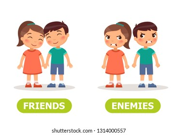 Vector antonyms and opposites. FRIENDS and ENEMIES. Card for teaching aid, for a foreign language learning