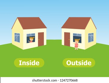 Vector antonyms and opposites. Illustrations on white background. Card for children сan be used as a teaching aid for a foreign language learning. Inside and Outside.