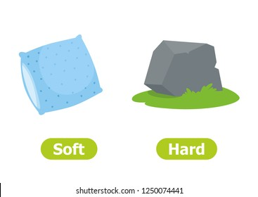 Vector antonyms and opposites. Illustrations on white background. Card for teaching aid, for a foreign language learning. Soft and Hard.