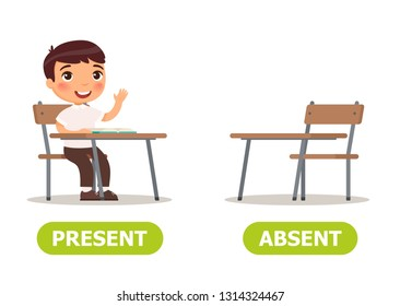 Vector antonyms and opposites. PRESENT and ABSENT. Card for teaching aid, for a foreign language learning