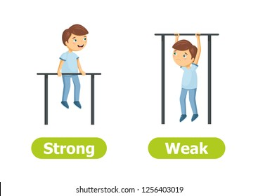 Vector antonyms and opposites. Strong and Weak. Cartoon characters illustration on white background. Card for teaching aid, for a foreign language learning.