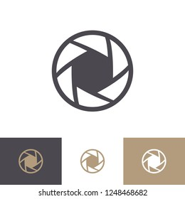 Vector aperture icon set isolated on background. Lens symbol. Camers objective icon. Shutter for photography logo, web design. 10 eps