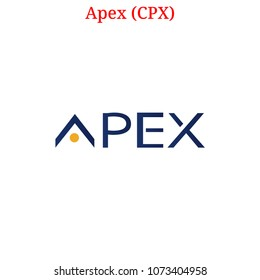 Vector Apex (CPX) digital cryptocurrency logo. Apex (CPX) icon. Vector illustration isolated on white background.