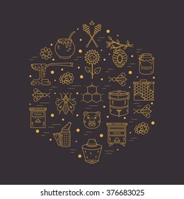 Vector apiary line icons. Apiary vector symbols. Bee, honey, bee house, honeycomb, dipper, behive, flowers, wax. Honey natural healthy food production.