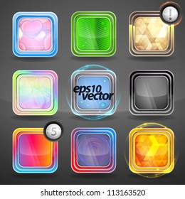 Vector app application icon glossy copyspace button set of nine eps10 glossy rounded corner square emblems