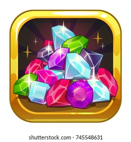 Vector app icon with colorful shiny jewels and golden frames. Application store logo example. Cartoon illustration
