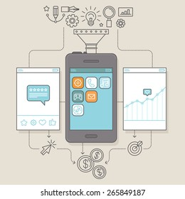 Vector app promotion and marketing concept in flat linear style - illustration for service to get reviews for mobile apps and monetization infographics design elements