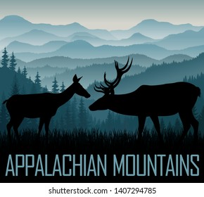 vector Appalachian Mountains with silhouettes of deers