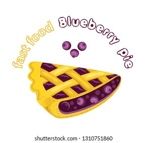 Vector appetizing blueberry pie with blueberry jam and berries. Transparent background and inscription