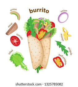 Vector appetizing burrito with rendered ingredients. Transparent background and titles.