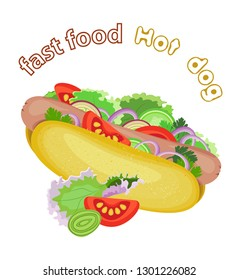 Vector appetizing hot dog with fresh vegetables. Transparent background and inscription