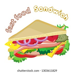Vector appetizing sandwich with fresh vegetables, bacon and sausage. Transparent background and inscription
