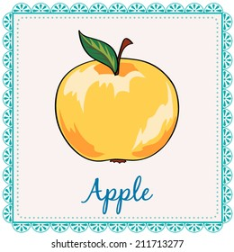 Vector apple. Cartoon yellow apple