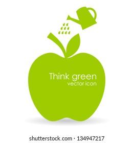 Vector apple illustration, growth symbol