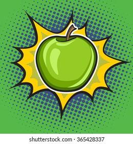 Vector apple pop art retro style.