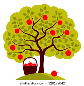 vector apple tree and basket of apples isolated on white background