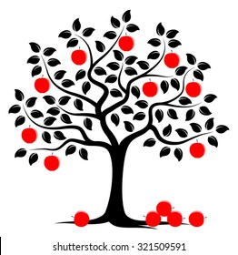 vector apple tree with pile of apples isolated on white background
