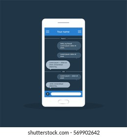 Vector application with chat boxes. Messenger. Message box. Duologue window
