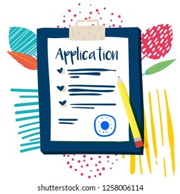 Vector Application Form. Documents with Stamp and Pencil. - Vector