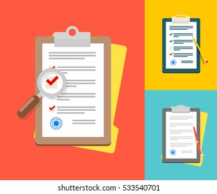 Vector Application Form. Documents with Stamp and Pen, Pencil and Magnifier