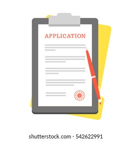 Vector Application Form. Documents with Stamp and Pen.