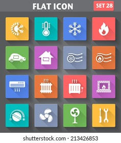 Vector application Heating and Cooling Icons set in flat style with long shadows.