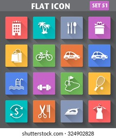 Vector application Hotel Services and Facilities Icons. Set 3 in flat style with long shadows.