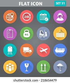 Vector application Logistics and Shipping Icons set in flat style with long shadows.