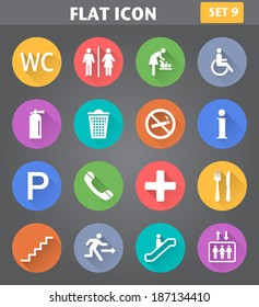 Vector application Public Icons set in flat style with long shadows.