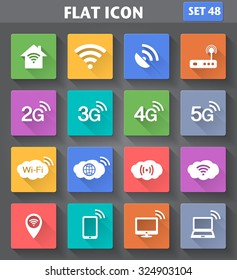 Vector application Wireless and Wifi icons. 2G, 3G, 4G and 5G technology symbols. Icons set in flat style with long shadows.