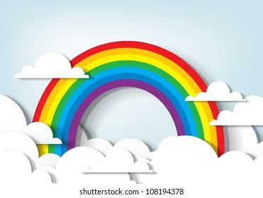 Vector applique. Rainbow and clouds