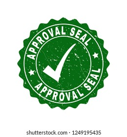 Vector Approval Seal scratched stamp seal with tick inside. Green Approval Seal imprint with scratced style. Round rubber stamp imprint.