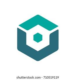 Vector Aqua Hexagon Dual Letter V O Logo