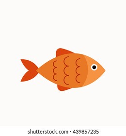 Vector aquarium fish  silhouette illustration. Colorful cartoon flat aquarium fish icon for your design.