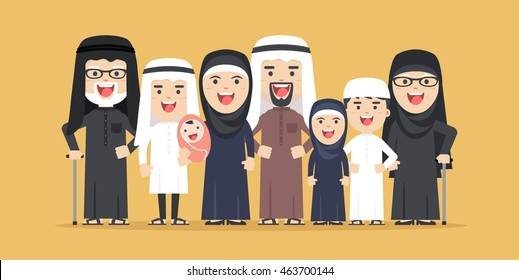 vector arab family, muslim people, saudi cartoon man and woman. Arab people father, mother, son, daughter, grandmother and grandfather standing together