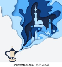 Vector arab tea pot. Kettle steam has the shape of mosque, arabian city, camel and palms. Modern material design background, poster, banner. Creative paper art concept and Ramadan idea