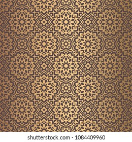 Vector arabesque pattern. Seamless flourish mandala background with golden floral elements. Intricate ornate lines. Arabic decorative design. Square tile. Symmetrical ornament. Oriental illustration.