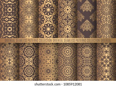Vector arabesque patterns. Seamless flourish backgrounds. Golden abstract flower and floral design elements. Intricate ornate lines. Arabic decorative ornament. Square tile oriental capsule collection