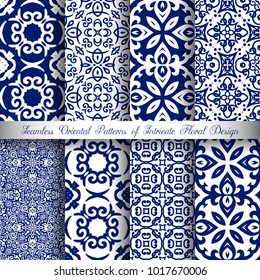 Vector arabesque patterns set. Seamless flourish backgrounds with abstract flowers and floral elements. Intricate ornate lines. Arabic decorative design. Square tile. Oriental symmetrical ornament.